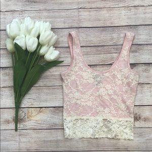 Pink and Cream Lace Tank Top